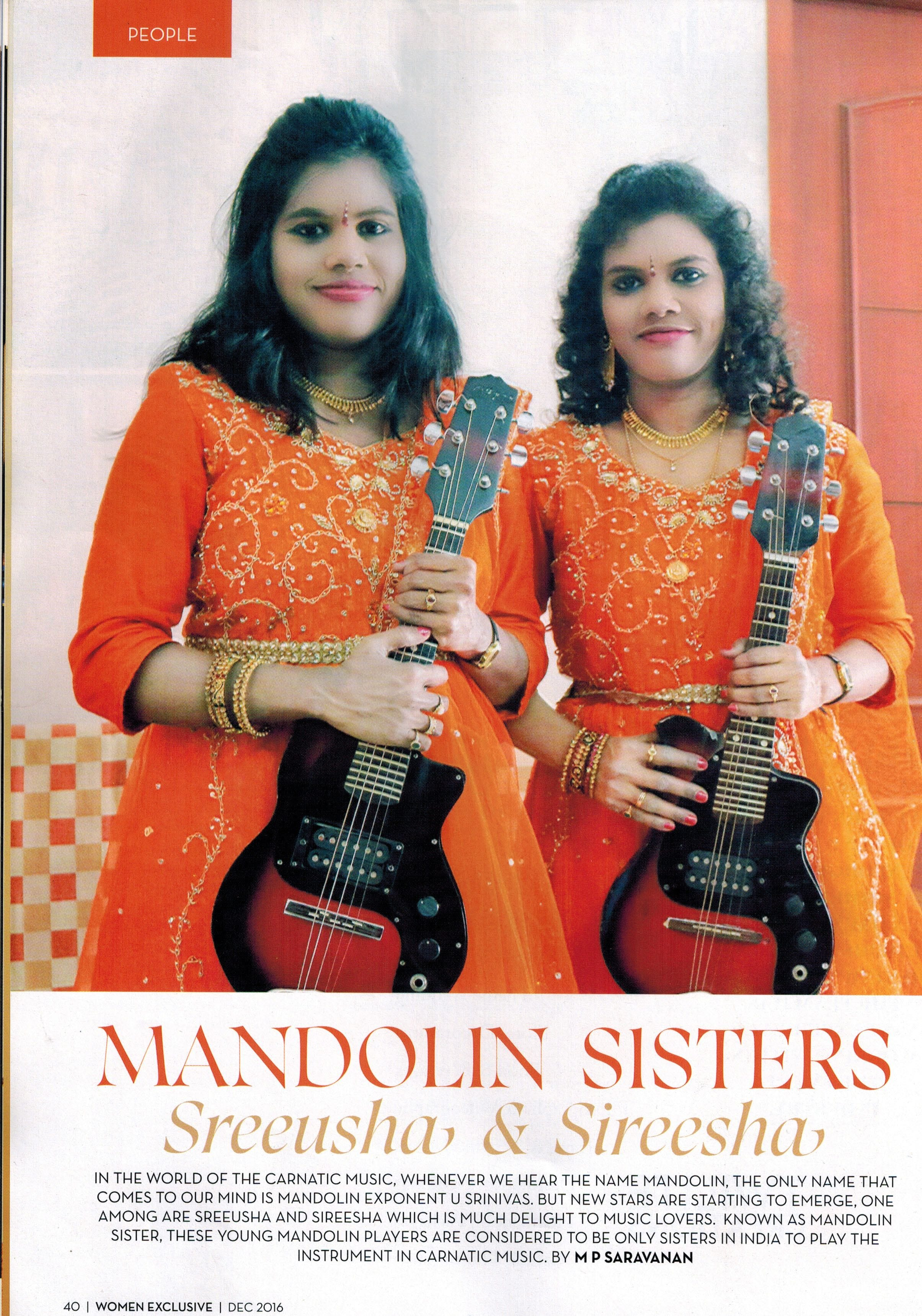 Mandolin Sisters - Sreeusha & Sireesha artcle in Women Exclusive - We Magazine
